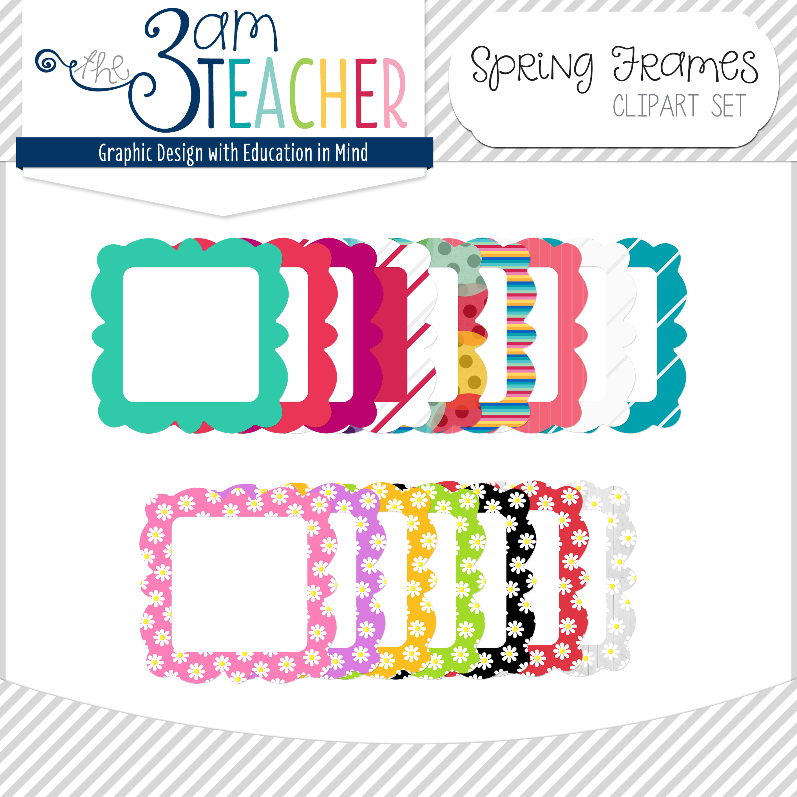 fun spring frames digital clip art