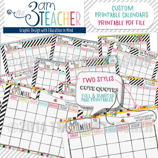 Calendar Printables For Teachers : Hello planner illustrated printable calendar pages for